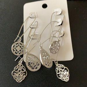 3/$10 NEW 3 prs dangling silver earrings